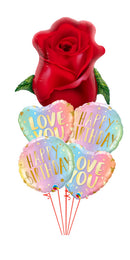 Red Rose BUd Happy Birthday Love Bouquet