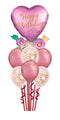 Birthday Satin Hearts Chrome and Confetti Balloon Bouquet