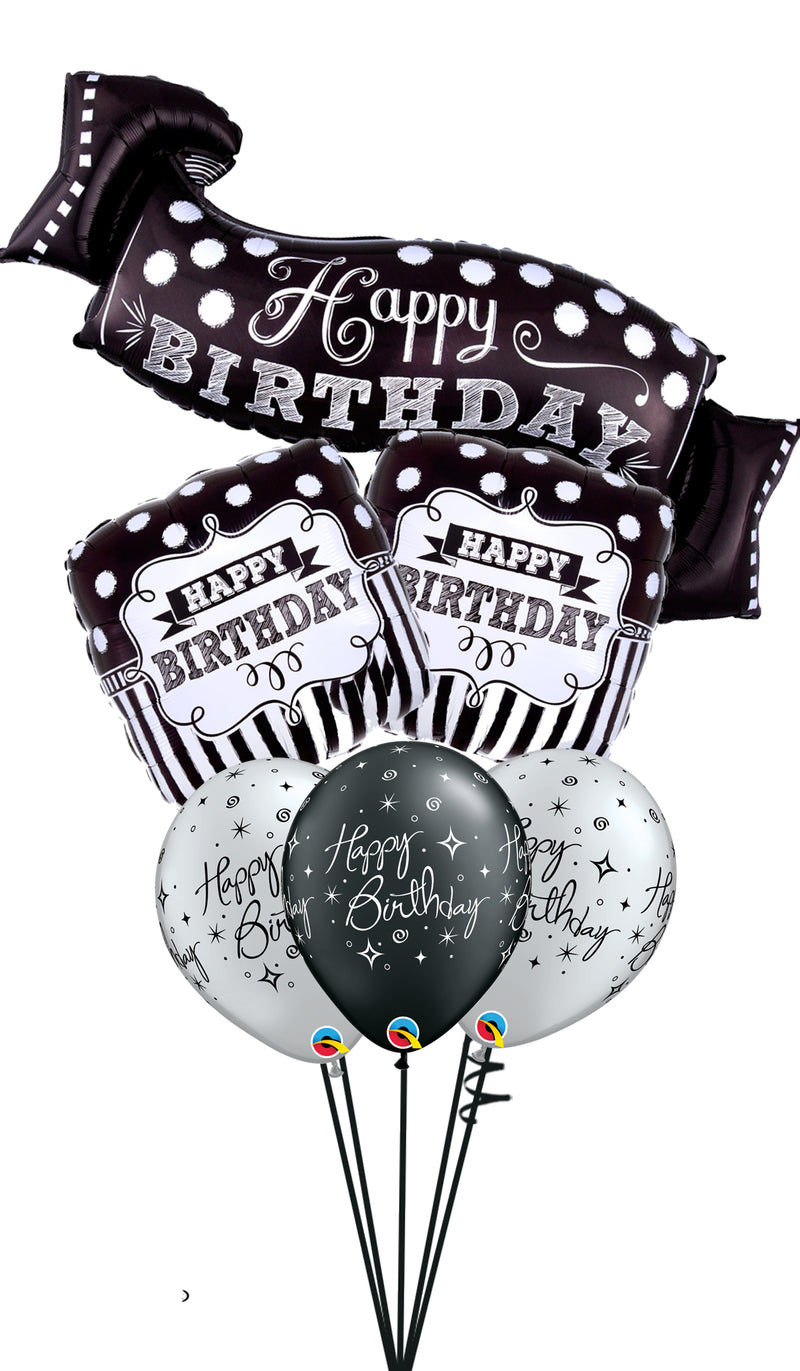 Black & White Chalkboard and Sparkling Birthday Bouquet