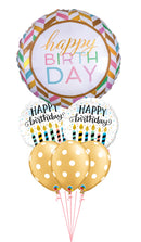 Pastel Celebration Birthday Candles Gold Big Dots Bouquet