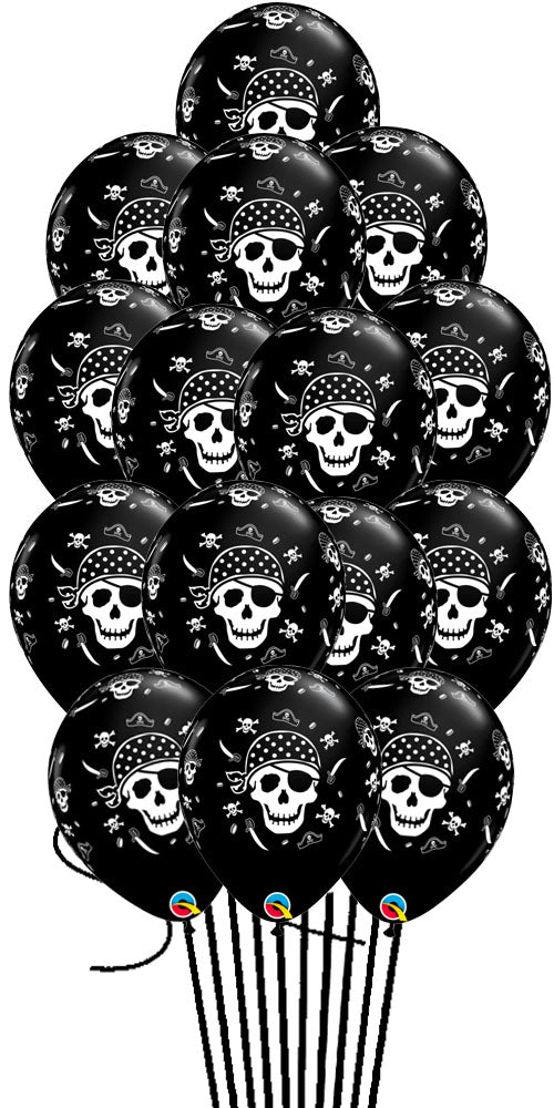 15 Black Pirate Skull & Cross Bones Bouquet