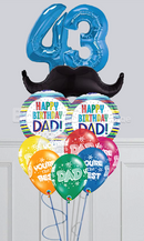 Any Number Happy Birthday Dad Mustache Balloon Bouquet