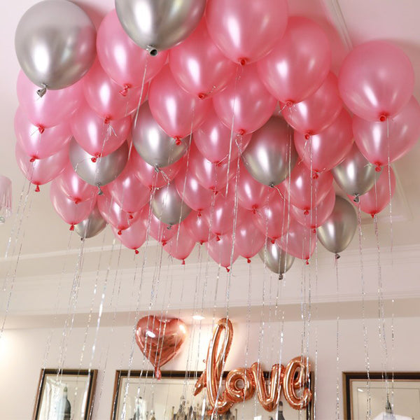 Pink and Silver Balloon Decoration