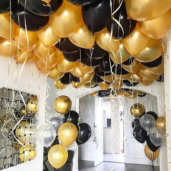 Classy Black and Gold Balloon Decor