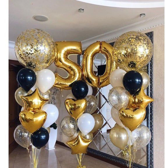 50th Gold and Silver Celebration Balloon Decor