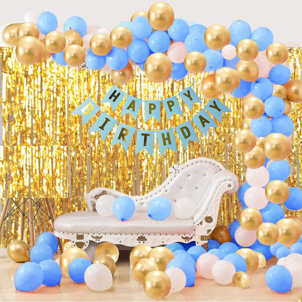 Blue and Gold Balloon Decoration