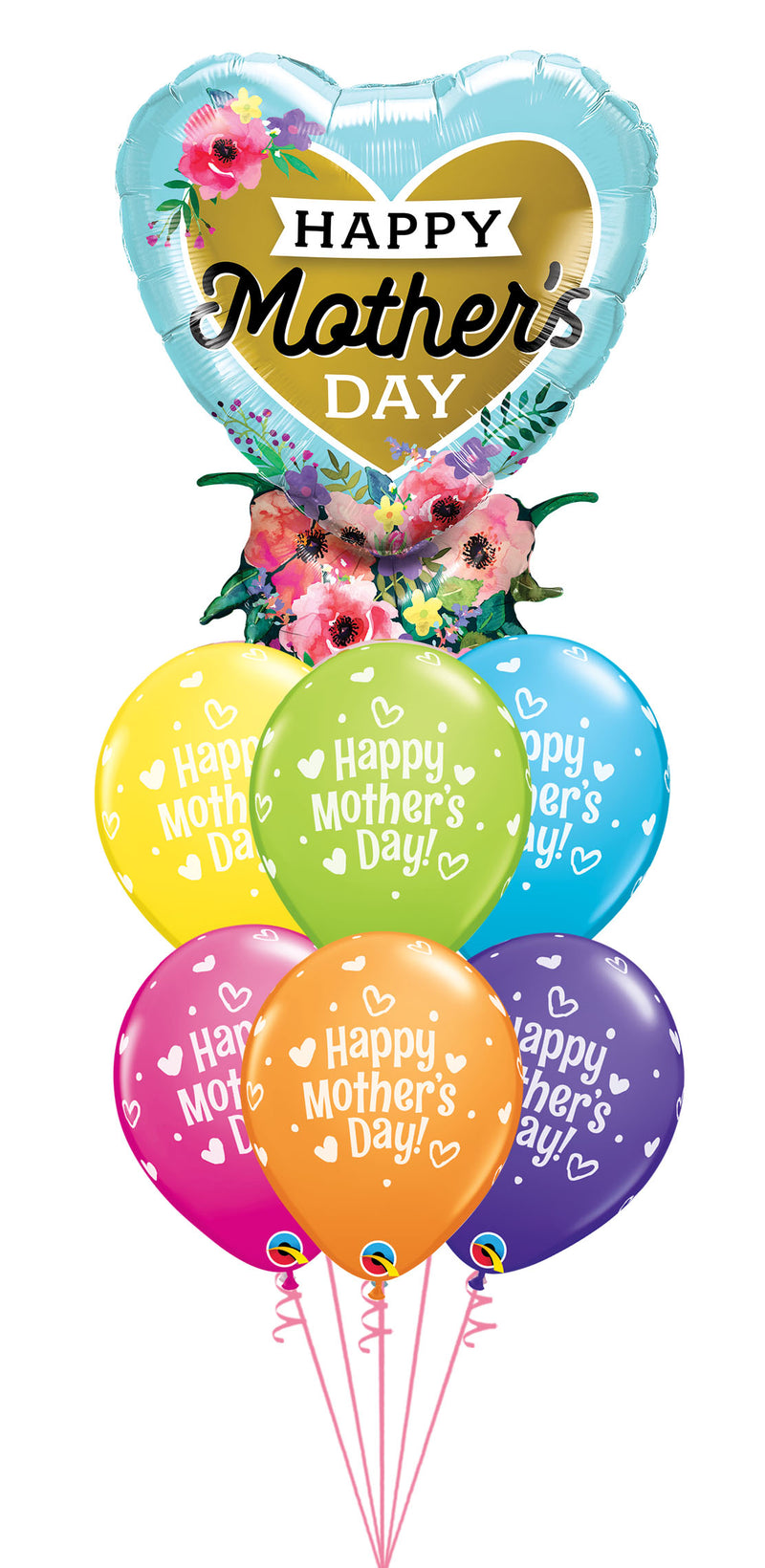 Mother's Day Heart Bouquet and Dots Balloons