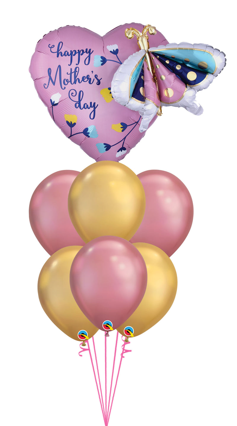 Mother's Day Butterfly & Heart Chrome Balloon Bouquet