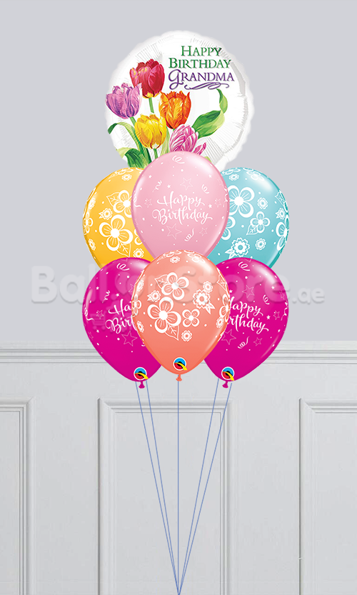 Happy Birthday Grandma Pink Sparkling Floral Blossom Balloon Bouquet