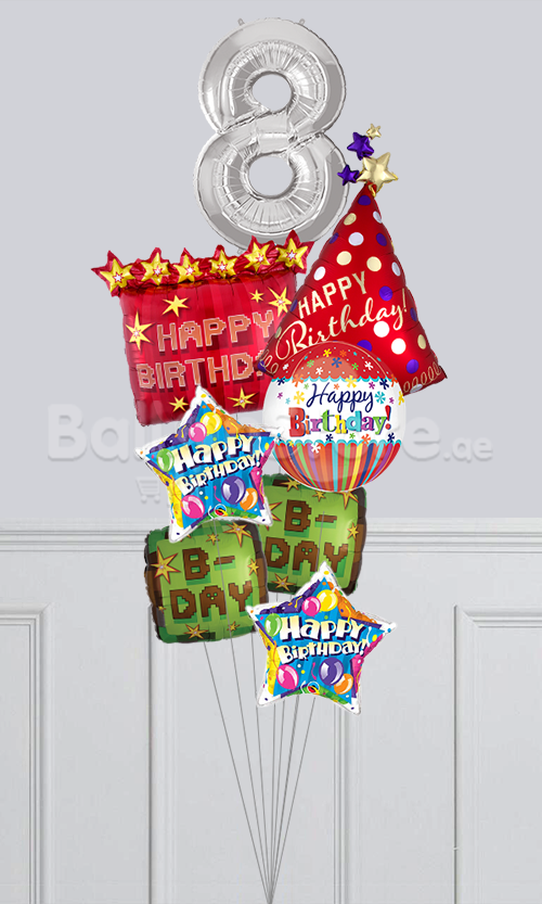 Any Number TNT Party Happy Birthday Big Balloon Bouquet