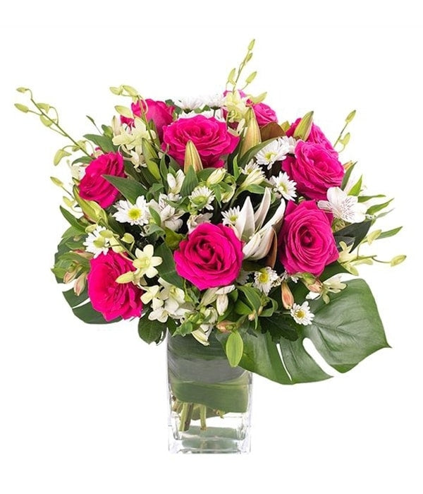 Pink Roses and Lilies Love