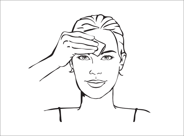 Step 1 illustration - woman cleaning her forehead