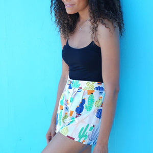 Cactus Print Hi Waisted Cotton Shorts with Pockets