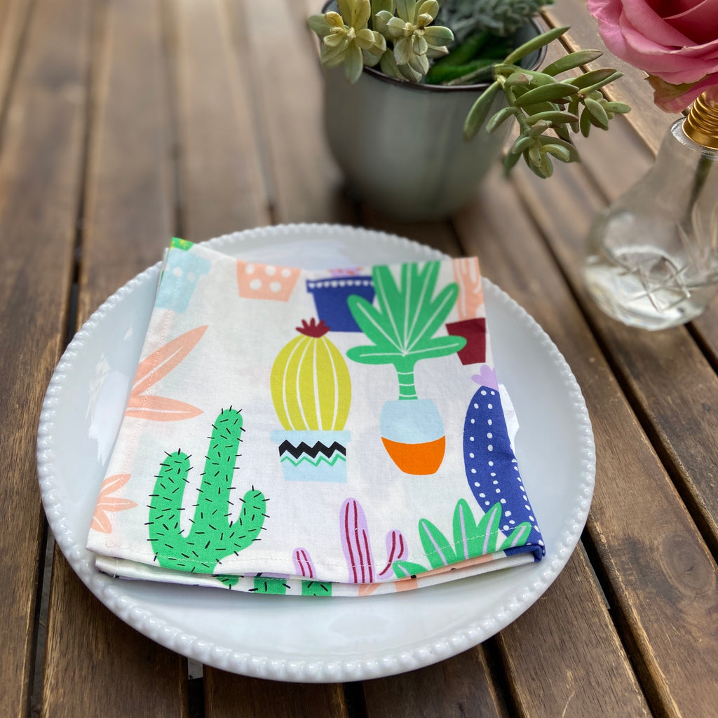 Cactus Print Cloth Dinner Napkins - 13x13inches
