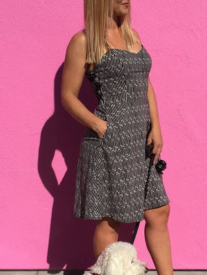 Black White Print Cotton Sundress with Adjustable Straps and Pockets