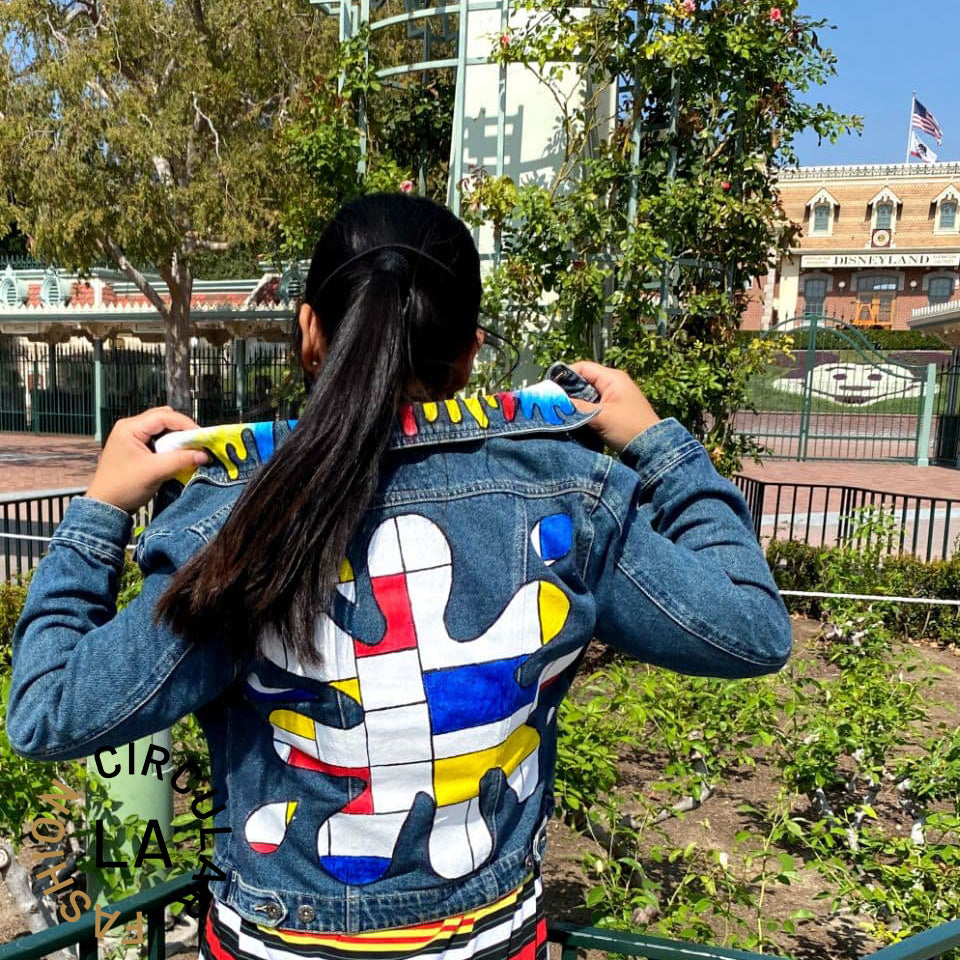 Upcycled Customize Multicolor Painted Denim Jacket