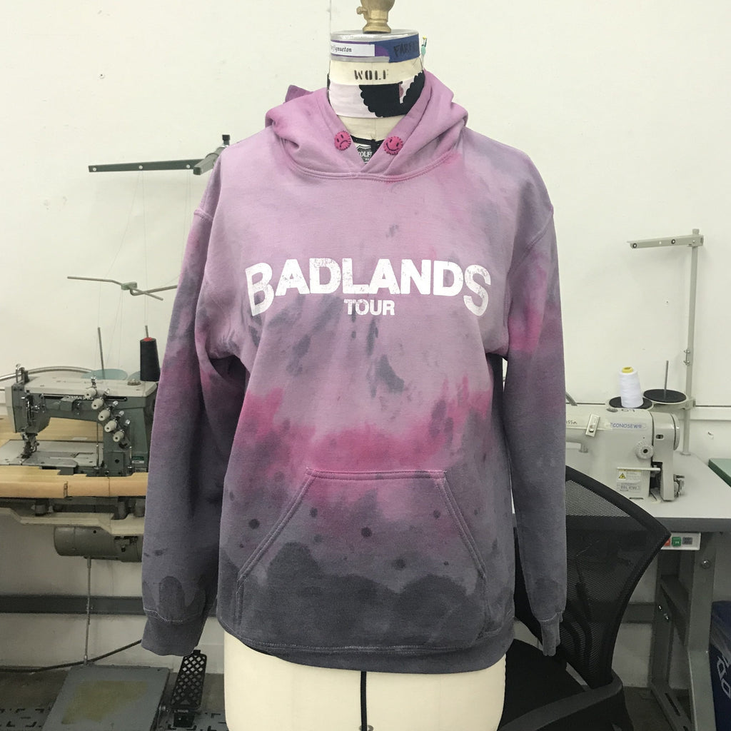Upcycled Dramatic Dip-Dye Badlands Tour Hoodie