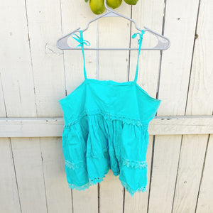 Upcycled Turquoise Babydoll Cami with Adjustable Tie Straps