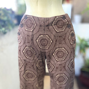 Front button brown and tan printed pants