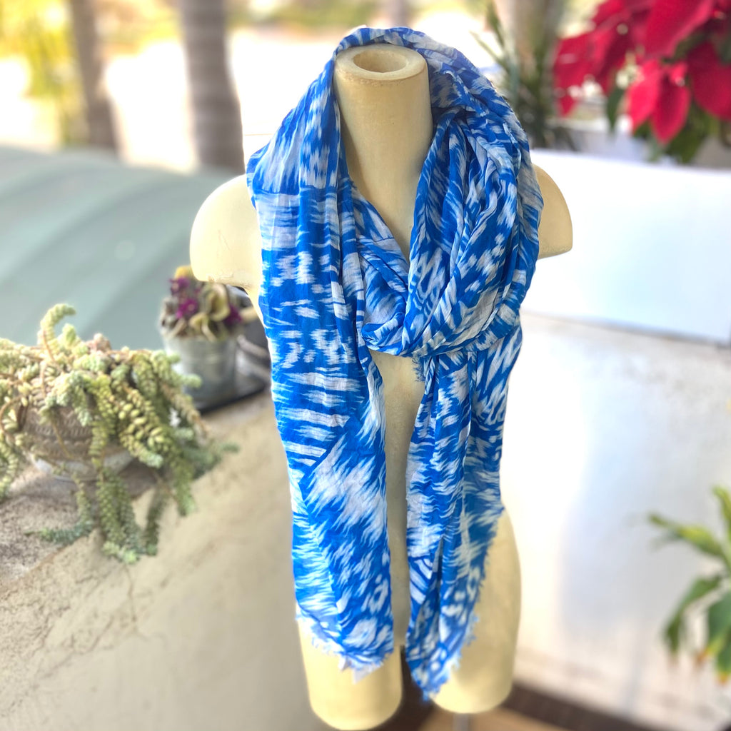 Multi-use, light-weight blue and white scarf sarong