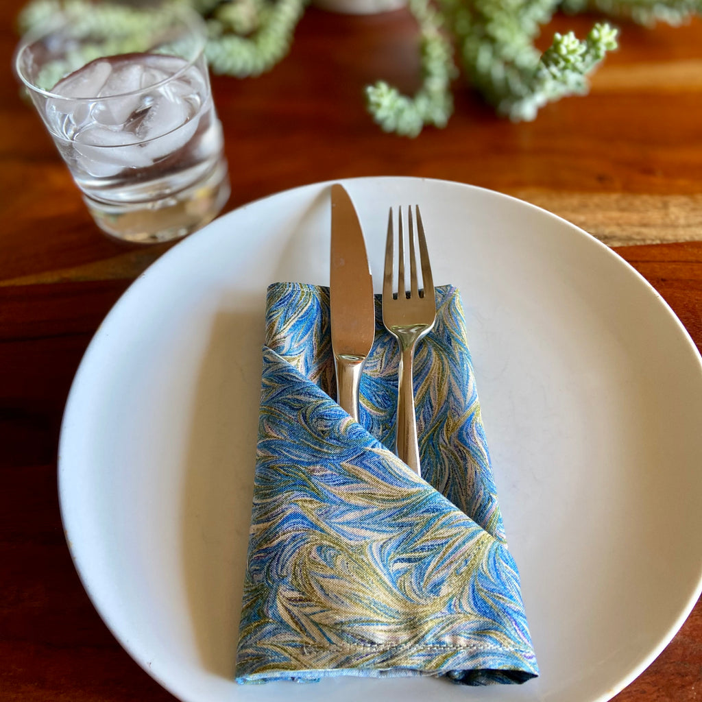 Watercolor Flame Print Vintage Cloth Napkins - 13in square