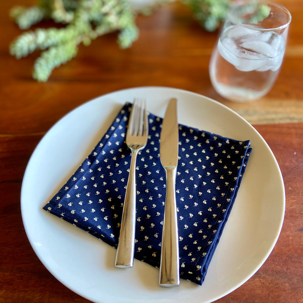 Navy Blue with Ladybugs Vintage Cloth Dinner Napkins - 13in square
