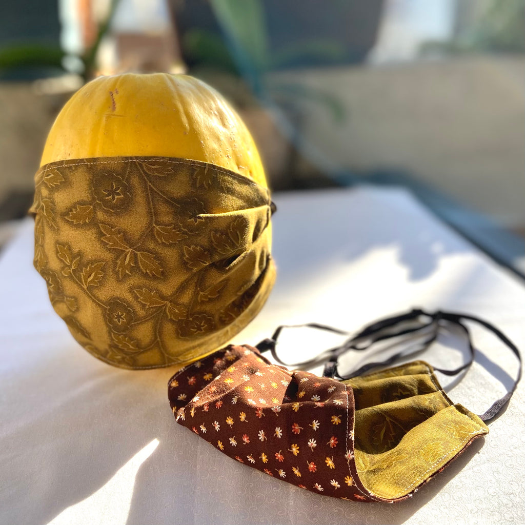 Vintage Golden Leaves and Brown Mini Leaf print Adjustable, reversible cotton face mask with head straps