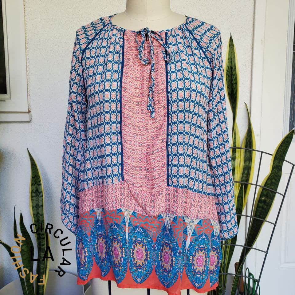 Blue and Orange Printed Tie-Neck Long Sleeve Flowy Silk Blouse