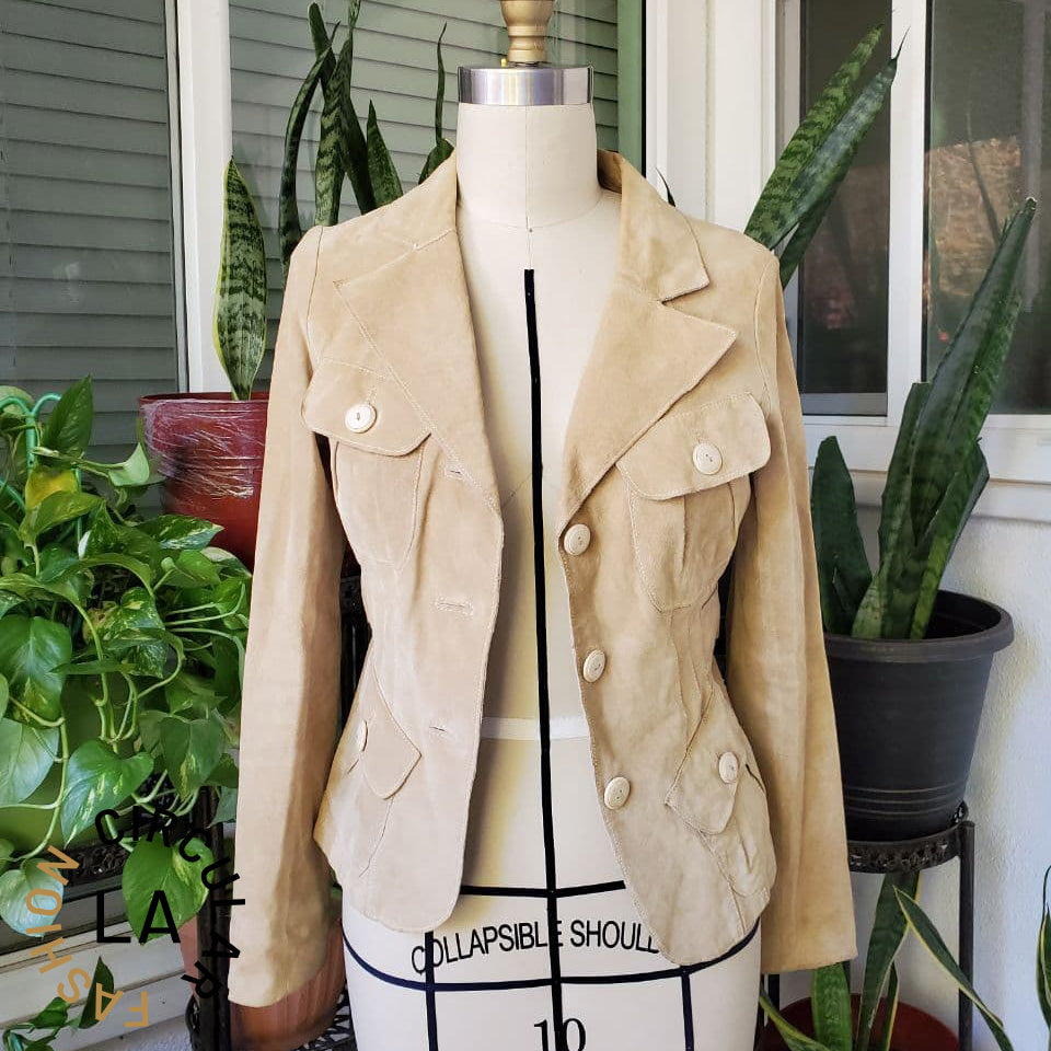 Camel-Colored Suede Blazer-Style Jacket with Front Pockets