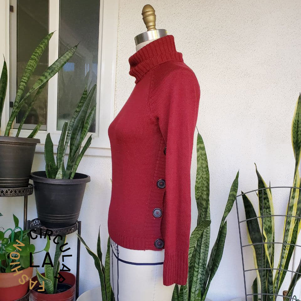 Chunky Knit Red Turtleneck Sweater with large side buttons