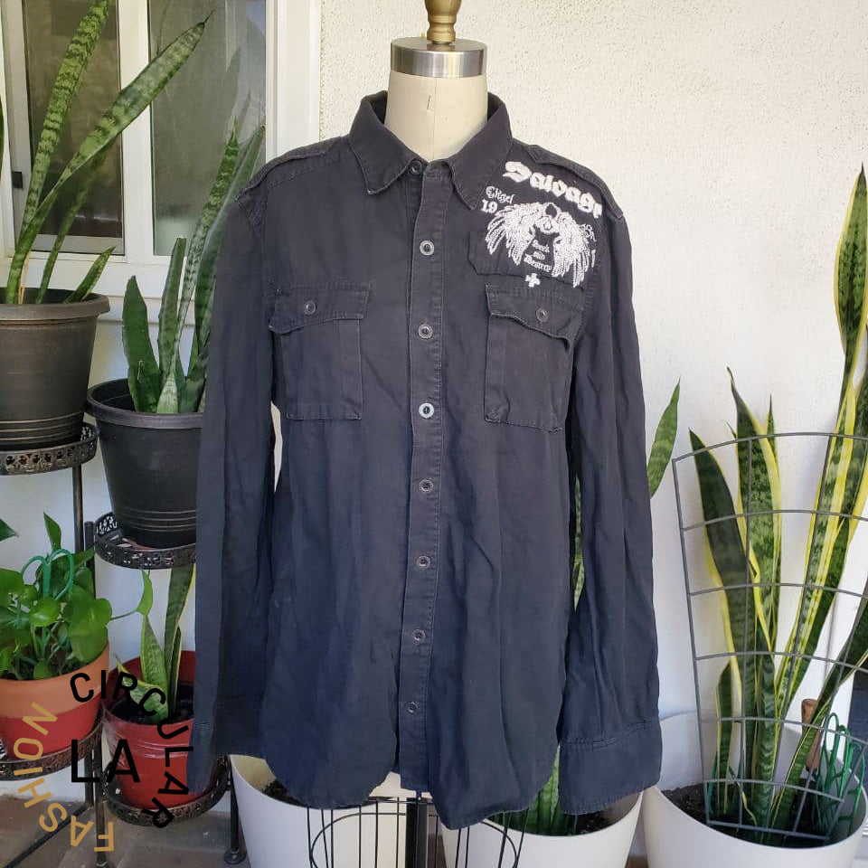 Mens Black Denim Button Down with White Skull and Wings Embroidery