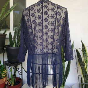 Sheer Navy Blue Floral Lace Fringe Cardigan