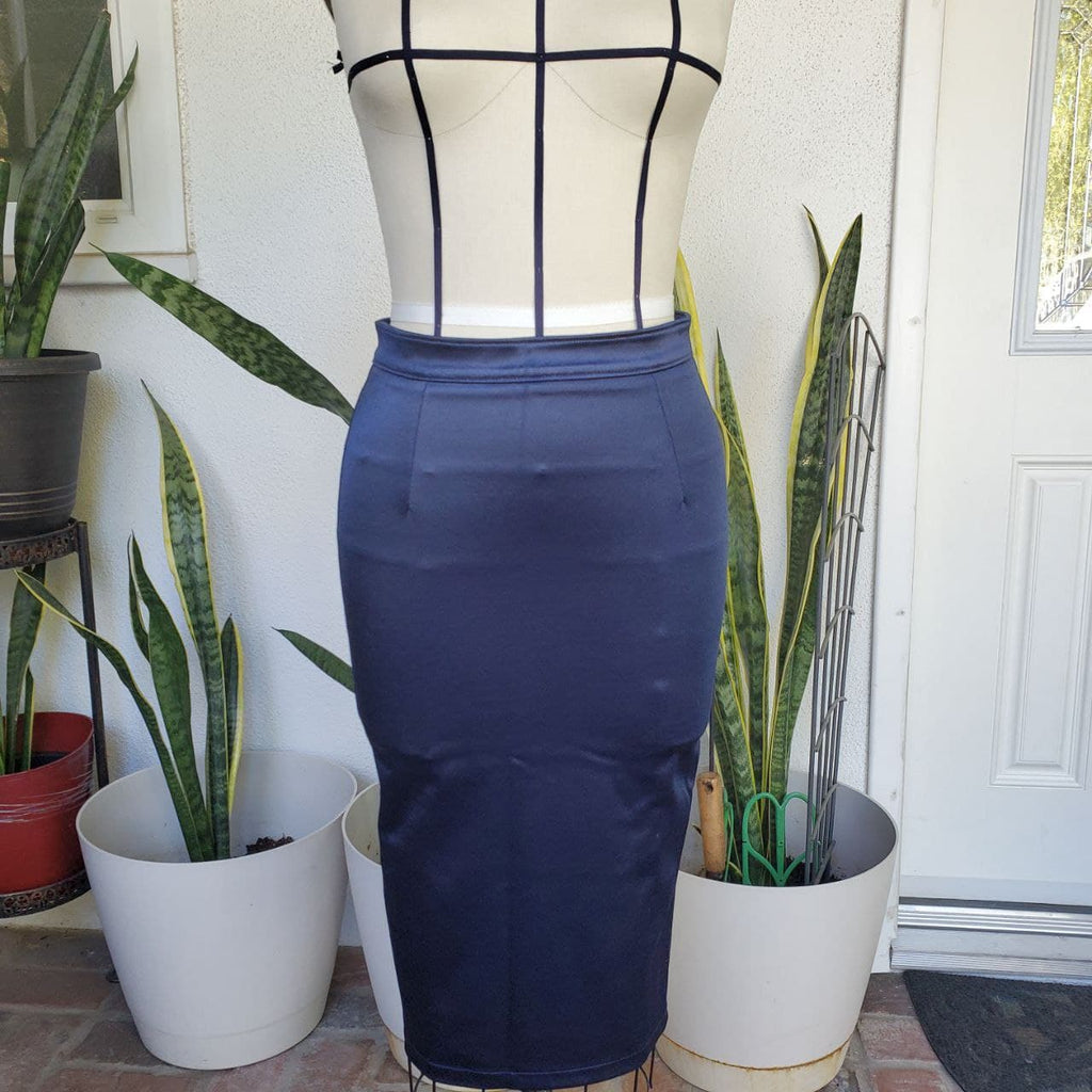 Satin Stretch Zip Back Pencil Skirt in Navy Blue