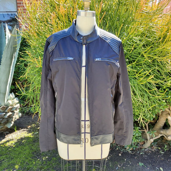Mens black leather trim motorcycle-style jacket