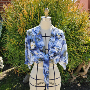 Upcycled front tie cropped Hawaiian button up shirt