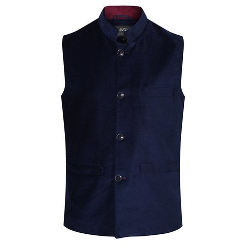 Velvet Gilet in Navy Blue