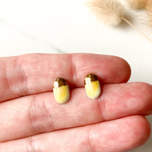 Load image into Gallery viewer, Flourish Stonewear - Mustard & Gold Oval Studs