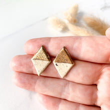 Load image into Gallery viewer, Flourish Stonewear -Diamond-shaped Studs with Gold