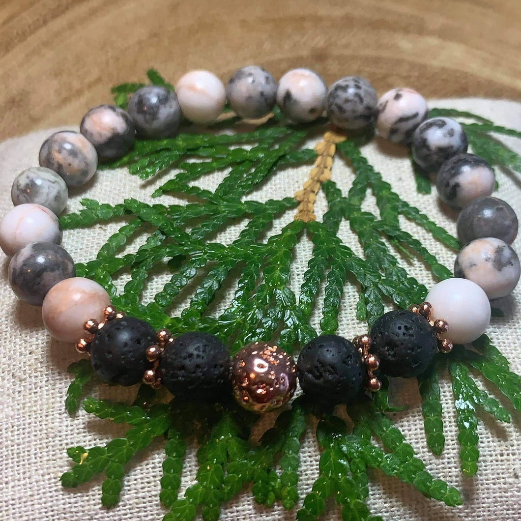 Lava Beads Creations - Anick Touchette - pink zebra jasper with black and rose gold lava stones