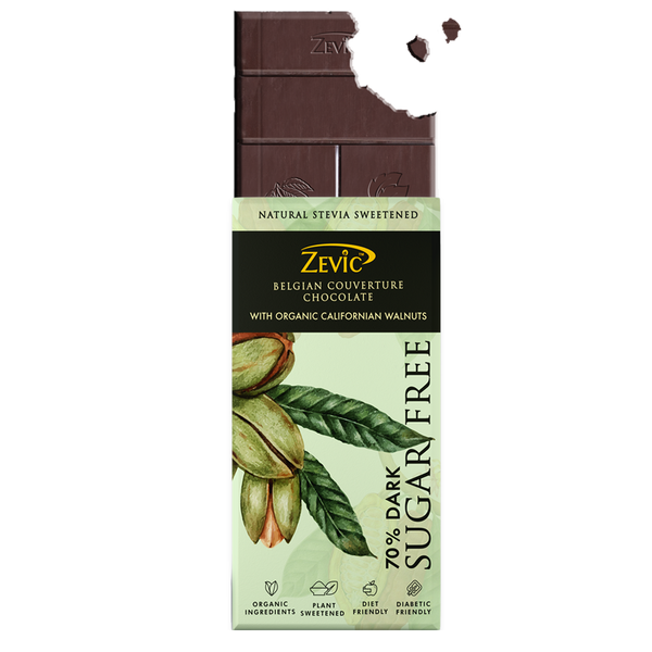 Zevic 70% Dark Belgian Couverture Chocolate with Organic Californian Walnuts