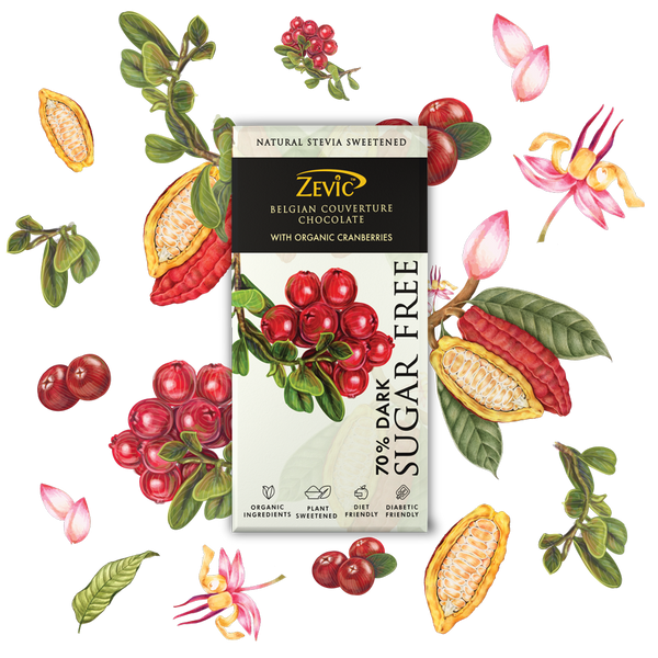 Zevic 70% Dark Belgian Couverture Chocolate with Organic Cranberries