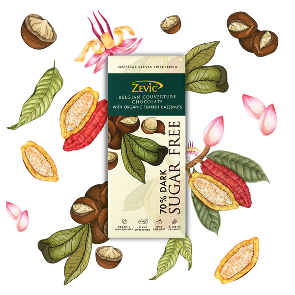 Zevic 70% Dark Belgian Couverture Chocolate with Organic Turkish Hazelnuts