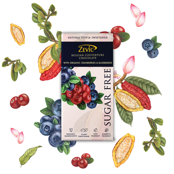 Zevic Belgian Couverture Chocolate with Organic Cranberries and Blueberries