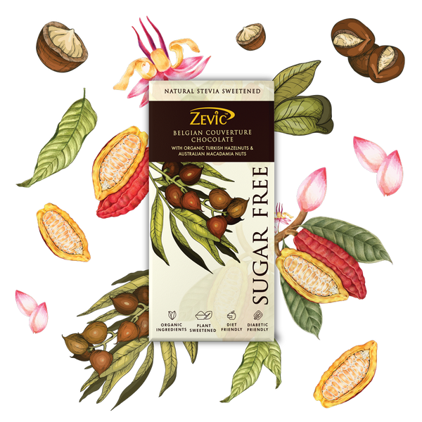 Zevic Belgian Couverture Chocolate with Organic Turkish Hazelnuts and Australian Macadamia Nuts
