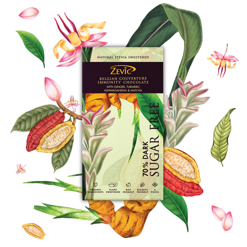 Zevic Belgian Couverture Immunity Chocolate with Ginger, Turmeric, Ashwagandha and Matcha