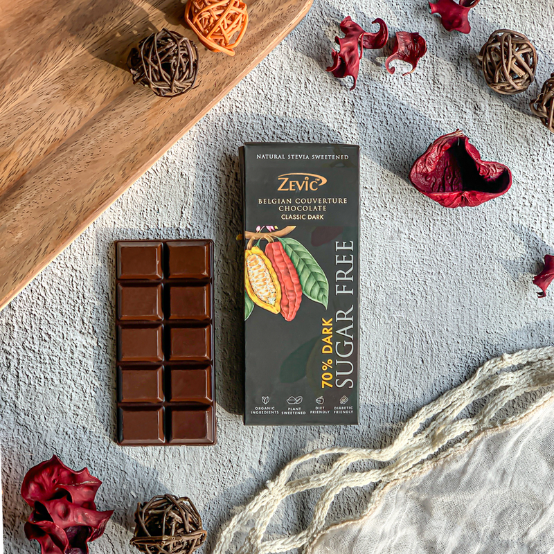 Zevic 70% Dark Belgian Couverture Chocolate with Stevia- Classic Dark