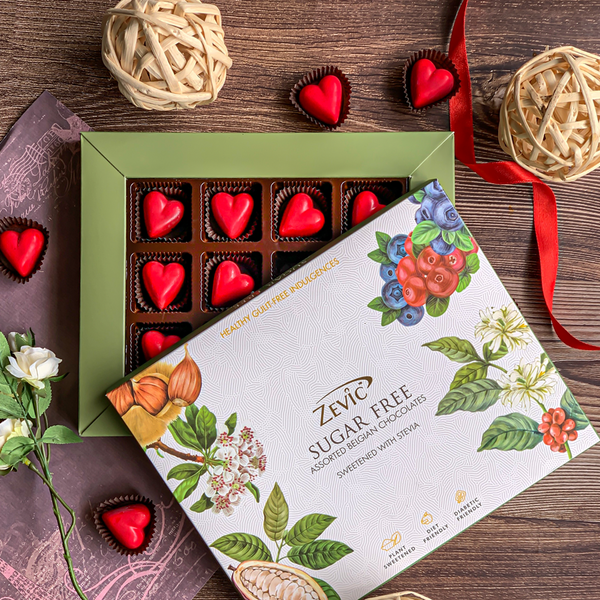 Zevic Sugar Free Keto Chocolate Strawberry Hearts Gift Pack