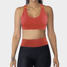 Load image into Gallery viewer, Ozency Sportwear Ozency S-XL Women Workout Outfit 2 Pieces Sports Bra with Capri Leggings Gym Athletic Active Wear (Orange Red)