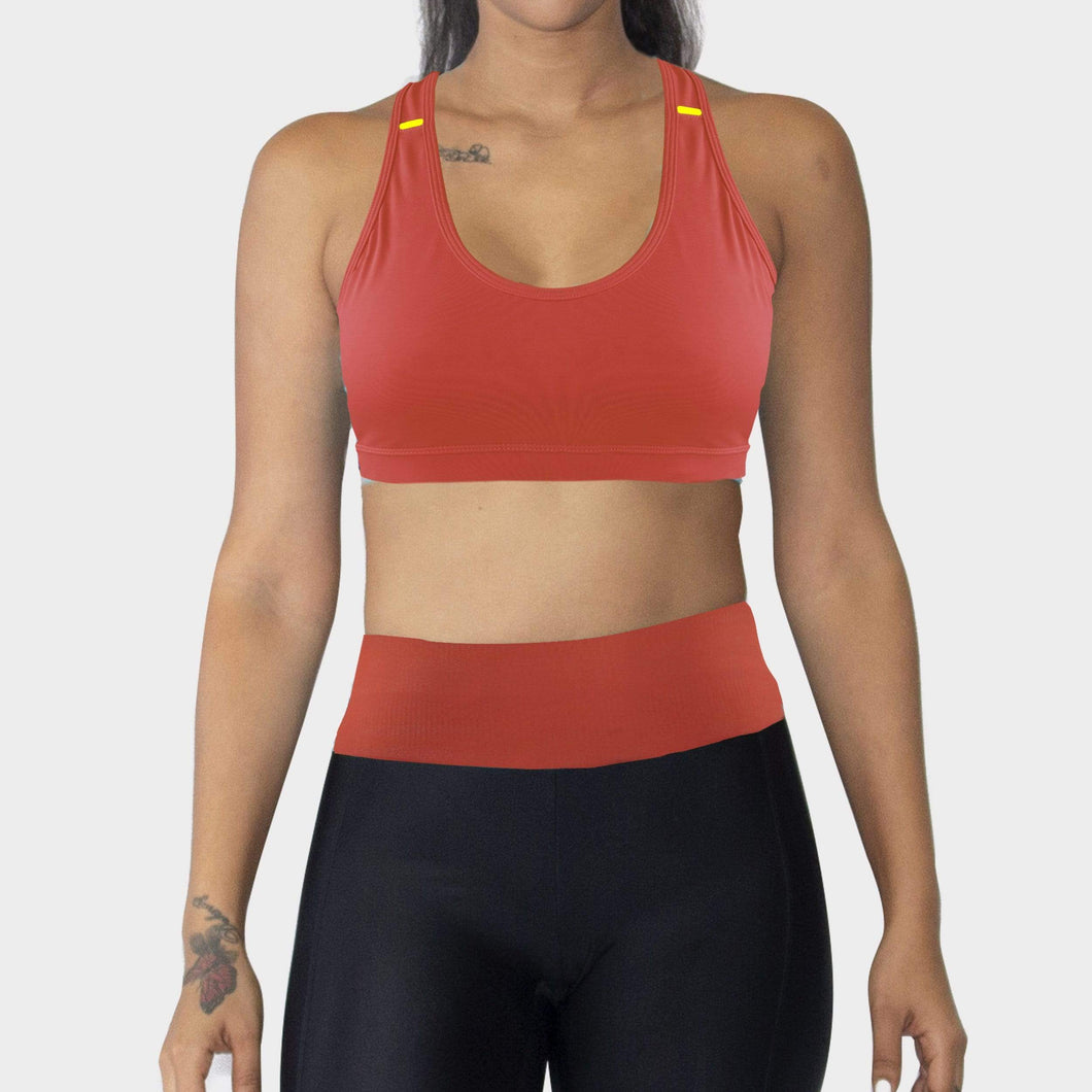Ozency Sportwear Ozency S-XL Women Workout Outfit 2 Pieces Sports Bra with Capri Leggings Gym Athletic Active Wear (Orange Red)