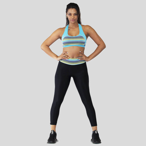 Ozency Sportwear Ozency S-XL Women Workout Outfit 2 Pieces Yoga Leggings with Sports Bra Gym Athletic Active Wear (blue (yellow stripes))